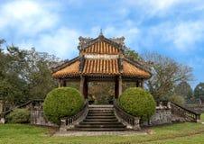 Oude Gazebo in de tuin van de Verboden stad, Keizerstad binnen de Citadel, Tint, Vietnam stock foto's