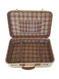 Oude geïsoleerde koffer - - binnen Stock Afbeelding