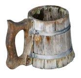 Oude Geïsoleerde met de hand gemaakte biermok Royalty-vrije Stock Fotografie