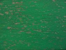 Oude gebarsten groene verf op de boom stock fotografie