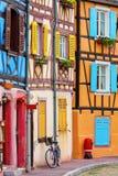 Oude gebouwen in Colmar, de Elzas, Frankrijk Stock Afbeelding