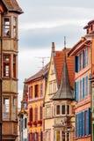 Oude gebouwen in Colmar, de Elzas, Frankrijk Stock Foto's