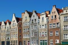 Oude gebouwen in Gdansk van de binnenstad, Polen stock foto's