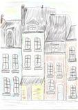 Oude gebouwen op een rij royalty-vrije illustratie