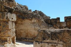 Oude gebouwen in Salami, Cyprus stock fotografie