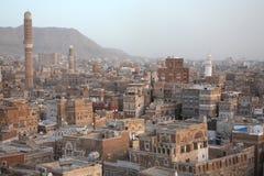 Oude gebouwen Sanaa stock afbeeldingen
