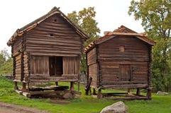 Oude gebouwen, Skansen-park, Stockholm, Zweden Stock Foto's