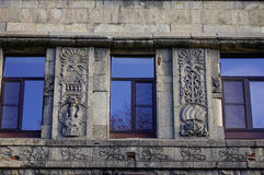 Oude gebouwen in Vyborg, Rusland Stock Foto