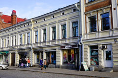 Oude gebouwen in Vyborg, Rusland Stock Foto's