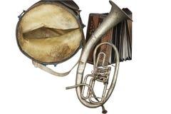 Oude gebroken muziekinstrumenten Stock Foto