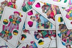 Oude gebruikte Duitse het dek slechts persoon van kaartenwilhelm tell royalty-vrije stock fotografie