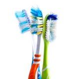 Oude gebruikte kleurrijke tandenborstels Stock Foto