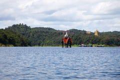 Oude gedaalde tempel in het meer Stock Fotografie
