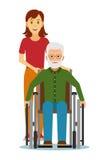 Oude gehandicapten in rolstoelen met kleindochter Stock Foto