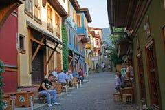 Oude gekleurde blokhuizen in Slijmbeurs, Turkije Stock Afbeeldingen