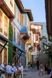 Oude gekleurde blokhuizen in Slijmbeurs, Turkije Royalty-vrije Stock Foto's