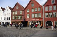 Oude gekleurde huizen van Bergen, Noorwegen Royalty-vrije Stock Fotografie