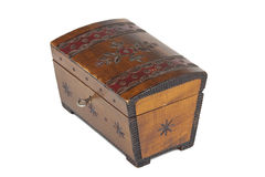 Oude gekraste houten kist met een ornament Stock Foto's