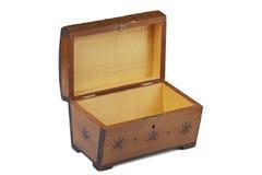 Oude gekraste houten kist met een ornament Stock Foto
