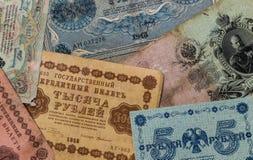 Oude geldbankbiljetten - achtergrond Tsarist Rusland Royalty-vrije Stock Afbeeldingen