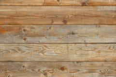 Oude gele de muur vlakke houten achtergrond van de pijnboom natuurlijke schuur Royalty-vrije Stock Afbeeldingen