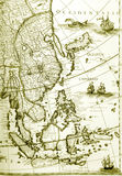 Oude gele kaarten van Zuidoost-Azië Royalty-vrije Stock Foto's