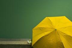 Oude gele paraplu op de groene achtergrond van de cementmuur Concept royalty-vrije stock afbeeldingen