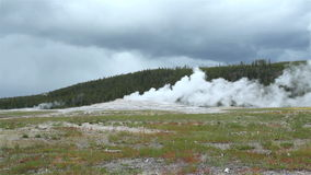 Oude Gelovige Geiser, Nationaal Park Yellowstone stock footage
