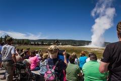 Oude Gelovige geiser in Yellowstone Royalty-vrije Stock Fotografie