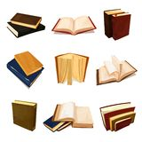 Oude geplaatste boeken, literatuur en bibliotheeksymbool royalty-vrije illustratie