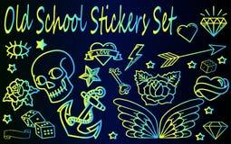 Oude Geplaatste Schoolstickers Royalty-vrije Stock Afbeeldingen