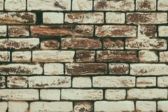 Oude geschilderde bakstenen muurtextuur - retro stijl grunge achtergrond Stock Fotografie