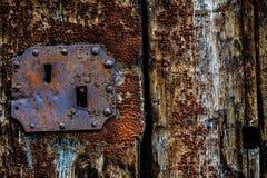 Oude geschilderde houten deur Stock Foto