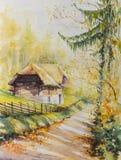 Oude geschilderde huiswaterverf Royalty-vrije Stock Afbeelding