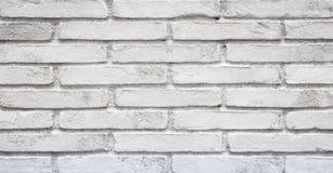 Oude Geschilderde Witte bakstenen muurachtergrond Stock Foto