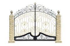 Oude gesmede poorten en deur door ornament. Stock Afbeeldingen