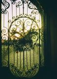 Oude gesmede poorten in middeleeuws kasteel royalty-vrije stock afbeelding