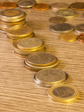 Oude Gestapelde muntstukken Stock Fotografie
