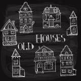 7 oude gestileerde huizen Stock Foto's