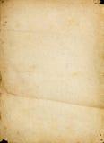 Oude geweven document pagina met vlekken en vouwen Stock Foto's