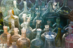 Oude glasflessen Stock Foto's
