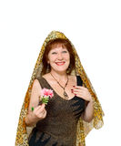 Oude glimlachVrouw met bloem Royalty-vrije Stock Fotografie