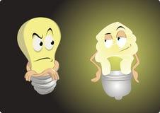 Oude gloeilamp versus energie - besparing royalty-vrije illustratie