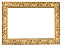 Oude gouden gesneden brede houten omlijsting Stock Foto's