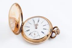 Oude gouden klok stock afbeelding
