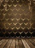 Oude gouden Victoriaanse stijl op de muur Stock Foto