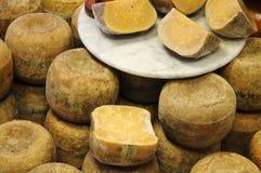 Oude Goudse kaas in Teller Stock Afbeeldingen