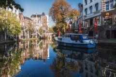 Oude Gracht在市的历史的中心乌得勒支 库存图片