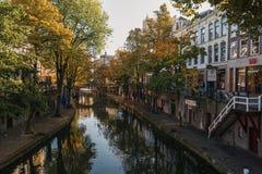 Oude Gracht在市的历史的中心乌得勒支 免版税库存照片