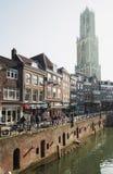 Oude Gracht in het historische centrum van de stad van Utrecht Royalty-vrije Stock Foto's